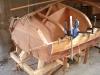 Spanish windlass used to bend strip planks into transom.
