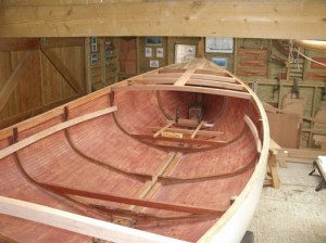 October 2014 - Breasthook/mast thwart, deck beams, king plank, mast step and some floor beams fitted