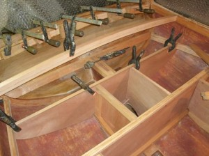 Dec 2014 - Aft deck beams, bulkheads and outboard well fitted
