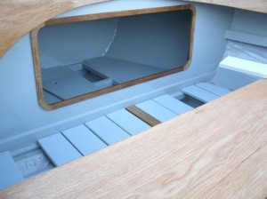 May 2015 - Fitting floorboards and fore locker complete - note removable panel