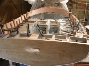 April 2015 - Glueing second layer 3mm plywood core to coaming