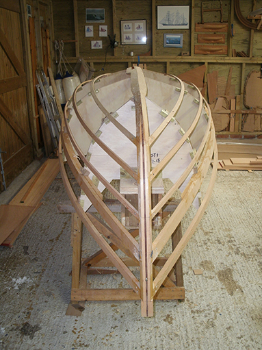Set-up of moulds, keel, stem, transom and stringers