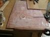 Set up to cast epoxy/silica bush in side of centreboard case for pivot