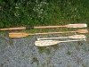 """Oar for Ebihen 15 gaff cutter, kayak double paddle and a pair  of \""""beaver tail\"""" paddles for Canadian canoe"""