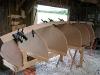 Spiling batten of 4mm plywood capturing the shape of the garboard strake